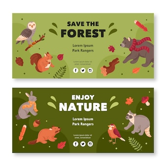 Coleção de banner horizontal com animais da floresta