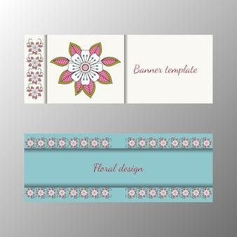 Coleção de banner horizontal padrão floral