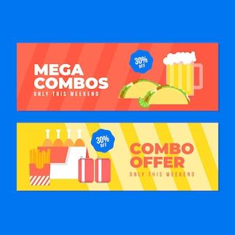 Coleção de banner horizontal para ofertas combinadas