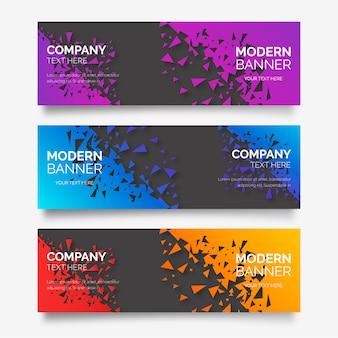 Coleção de banner moderno com formas abstratas quebradas