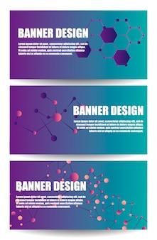 Coleção de banner moderno com moléculas realistas