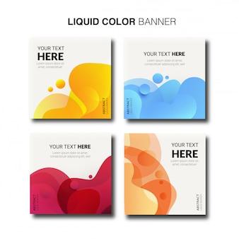 Coleção de banner moderno cor líquido.