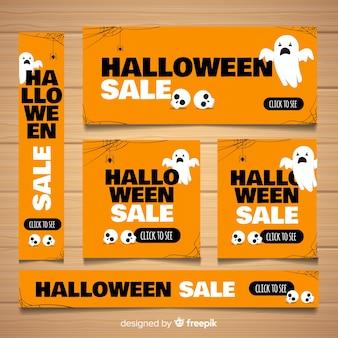 Coleção de banner moderno web halloween