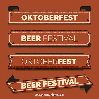 Coleção de banner oktoberfest em estilo retro