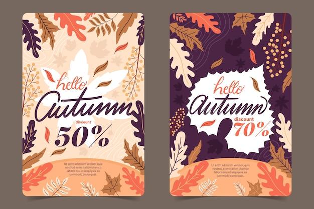 Coleção de banner outono design plano