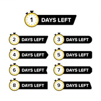 Coleção de banner promocional com o número de dias restantes no relógio