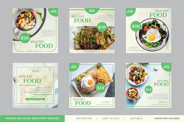 Coleção de banner quadrado de restaurante de comida