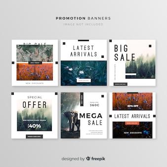Coleção de banner quadrado promoção