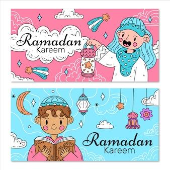 Coleção de banner ramdan design plano