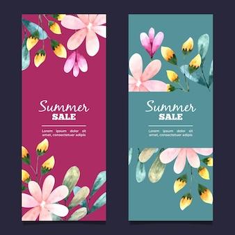 Coleção de banner vertical à venda com flores em aquarela