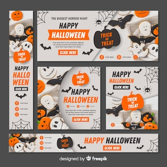 Coleção de banner web halloween com design plano