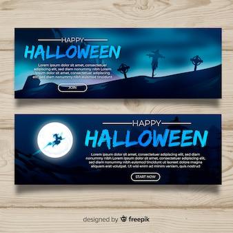 Coleção de banner web halloween com design realista