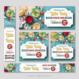 Coleção de banner web restaurante italiano com foto