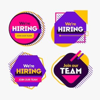 Coleção de banners coloridos de recrutamento