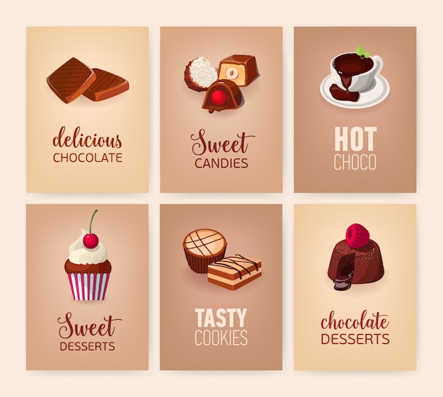 Coleção de banners com deliciosas sobremesas ou saborosos pratos e bebidas doces