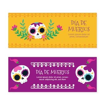 Coleção de banners com dia de muertos desenhado à mão