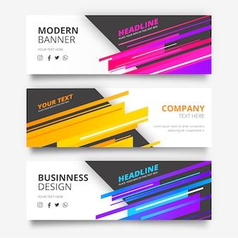 Coleção de banners com formas modernas