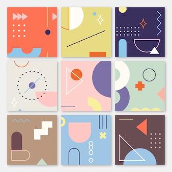 Coleção de banners com padrões geométricos