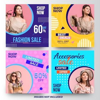 Coleção de banners de anúncio de mídia social de venda de moda moderna