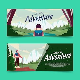 Coleção de banners de aventura plana