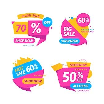 Coleção de banners de campanha de venda colorida