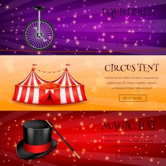 Coleção de banners de circo mágico