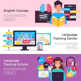 Coleção de banners de cursos de idiomas on-line