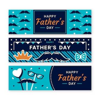 Coleção de banners de dia dos pais de design plano