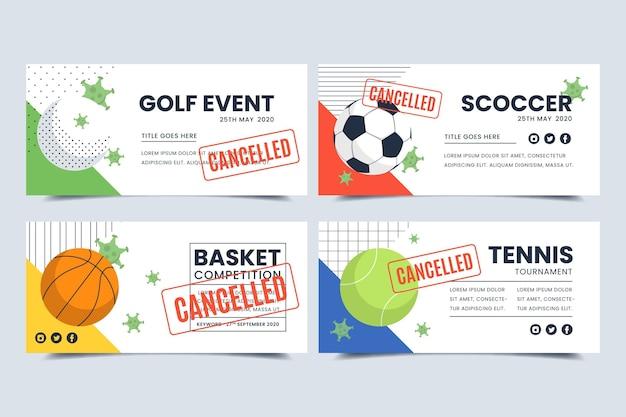 Coleção de banners de eventos esportivos cancelados