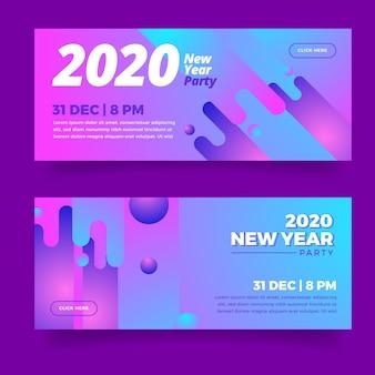 Coleção de banners de festa abstrata ano novo 2020
