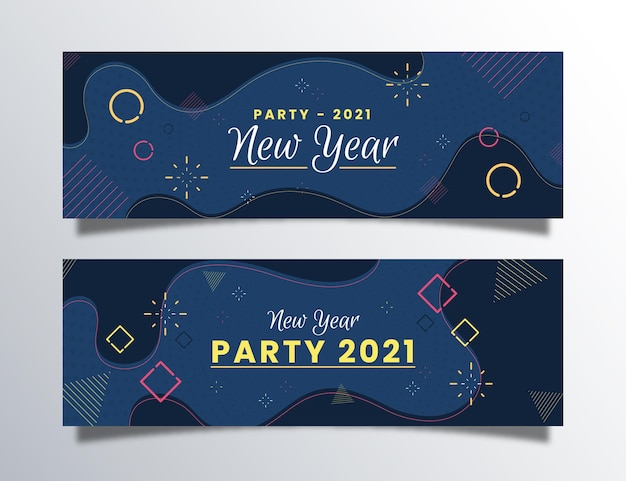 Coleção de banners de festa de ano novo 2021 de design plano