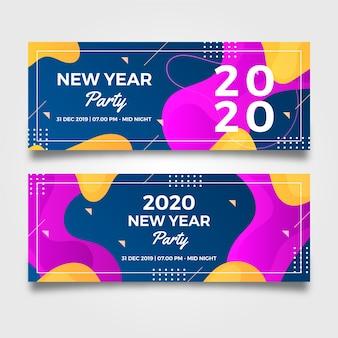 Coleção de banners de festa de ano novo de design plano 2020