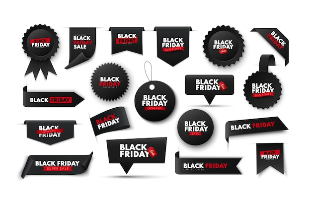 Coleção de banners de fita de venda na sexta-feira negra, etiquetas e etiquetas de preço de vetor isoladas