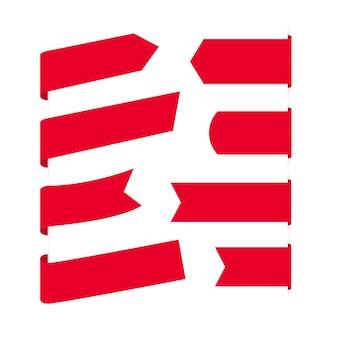 Coleção de banners de fita vermelha em branco