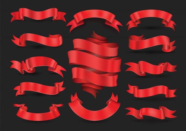 Coleção de banners de fita vermelha