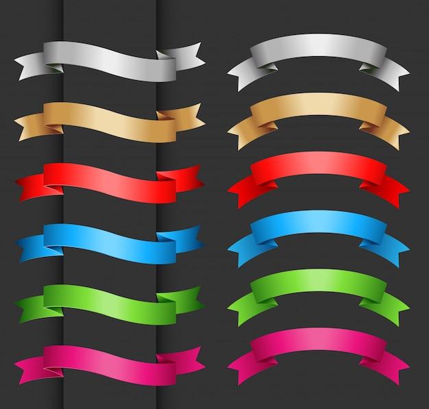 Coleção de banners de fita