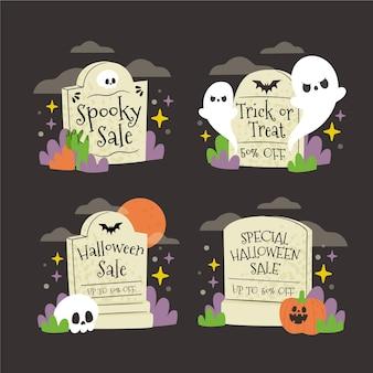 Coleção de banners de halloween desenhado à mão