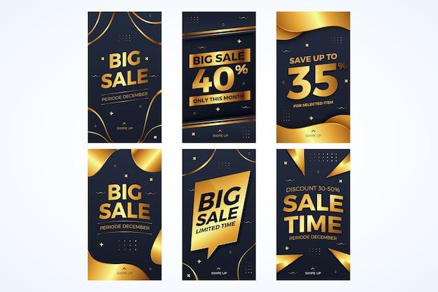 Coleção de banners de instagram de vendas douradas