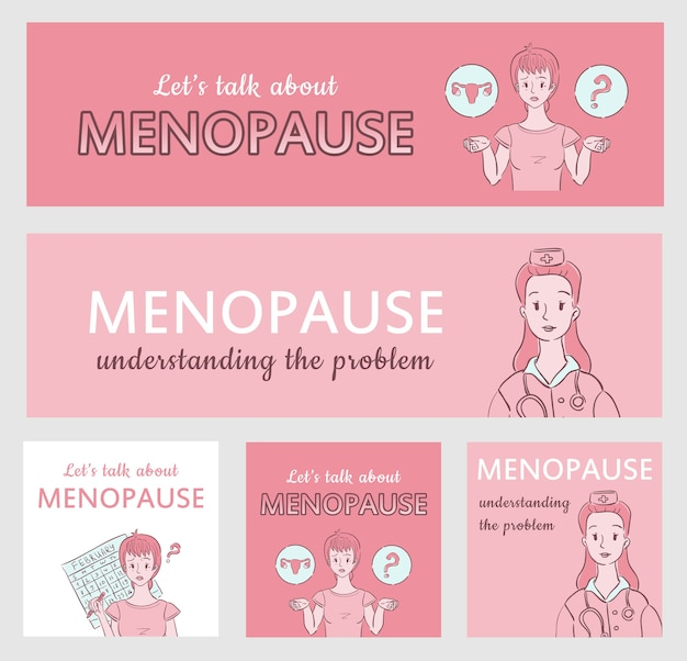 Coleção de banners de menopausa para sites médicos ou ginecológicos e mídias sociais