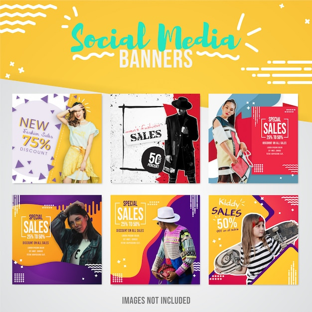 Coleção de banners de mídia social de vendas de moda moderna para uso em postagens no instagram para vendas especiais e ofertas