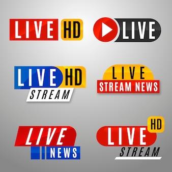 Coleção de banners de notícias de transmissão ao vivo