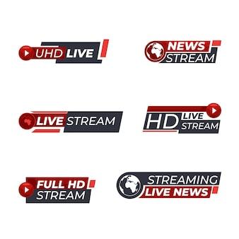 Coleção de banners de notícias de transmissões ao vivo