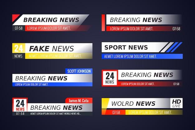 Coleção de banners de notícias de última hora