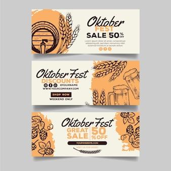 Coleção de banners de oktoberfest desenhadas
