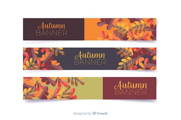 Coleção de banners de outono em aquarela