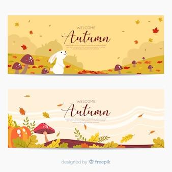 Coleção de banners de outono mão desenhada
