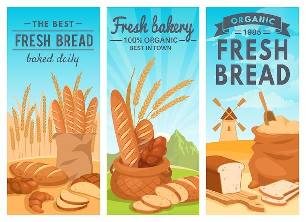 Coleção de banners de pão