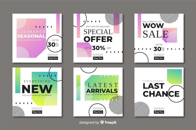 Coleção de banners de promoção de venda abstrata