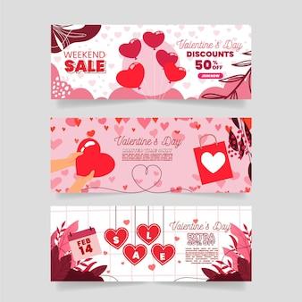 Coleção de banners de promoção do dia dos namorados de design plano