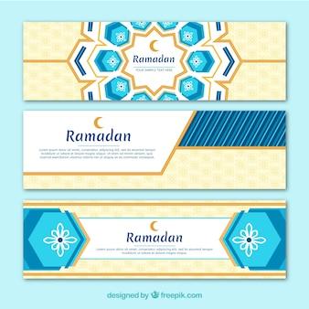 Coleção de banners de ramadã com ornamentos planos
